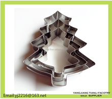 Christmas tree shape Stainless steel cake cutting tools biscuit Cutter