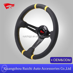 Black Suede Deep Dish Style Drifting Steering Wheel Compatible with MOMO Steering Wheel
