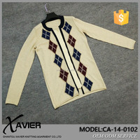 women loose cardigan cashmere knitted sweater with diamond pattern applique and patch