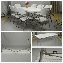 6 feet plastic folding half table for event and rental, small folding camping tables, best seller HDPE plastic folding table