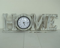 home decor rustic painted white wood table clock with letter home