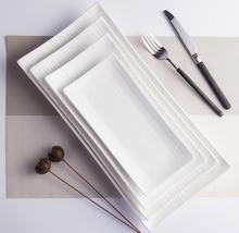 Creative pure white ceramic <strong>plate</strong> contracted rectangular edge flat beefsteak <strong>plate</strong>