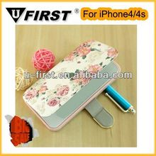 Wholesale flower designs pu leather for iphone4/4s mobile phone case
