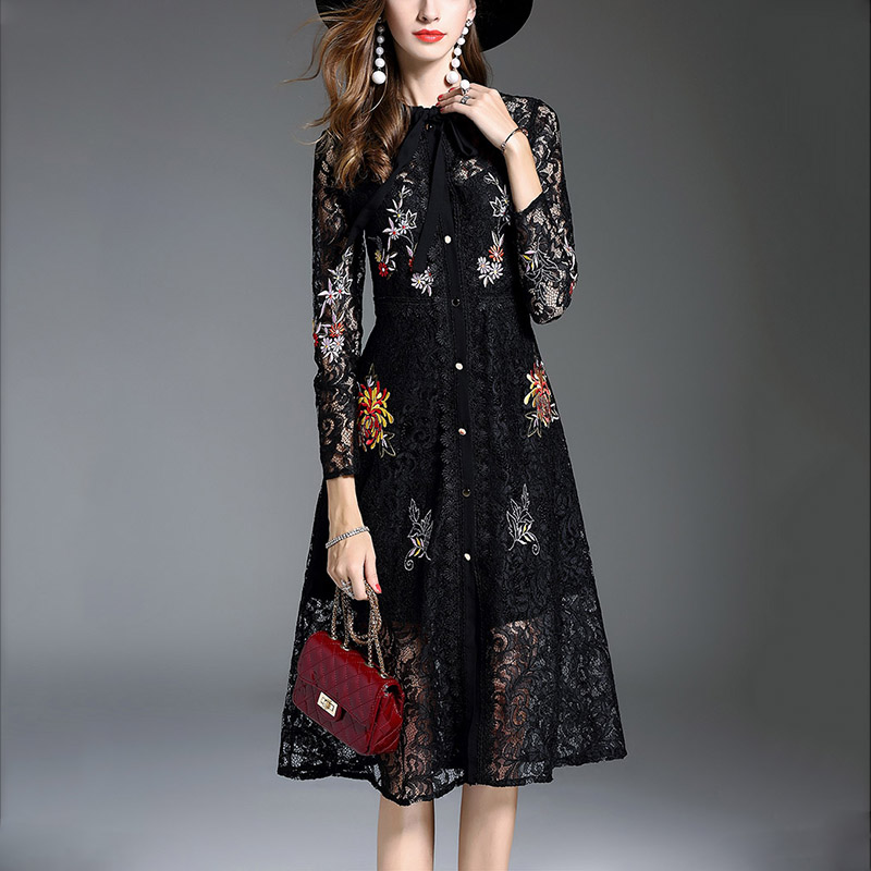 Latest long sleeve embroidery lady high quality black lace dress