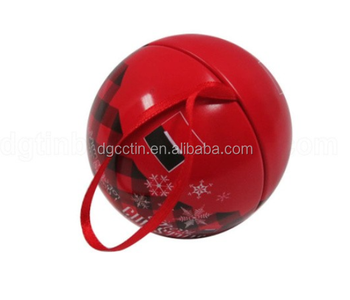 2018 Christmas Tin Ball, Customized Christmas Tin Gift Box