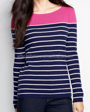 casual stripe design female cashmere knitwear