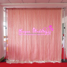 3M L*3M W Flocking Organza Fabric Hot Pink Rose Backdrop Curtain For Decoration Use