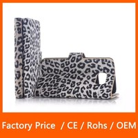 High Qulity Leopard Print Stand Flip Top PU Leather Case For Samsung Galaxy S6