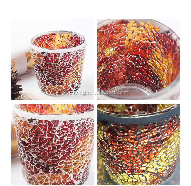 red tealight mosaic glass Candle Holder factory price
