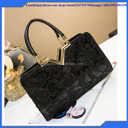 2016 Hot Sale Fashon Office Lady Elegance Lace Handbag Latest Design Women Lace PU Handbags