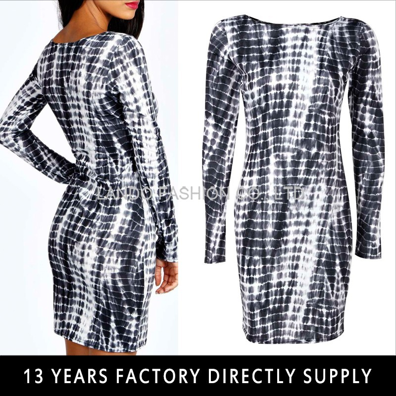 PRINT LONG SLEEVE BODYCON BATIK DRESS
