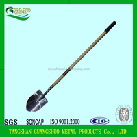 agriculture tools long wooden handle stainless steel shovel S518L