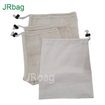 4pcs Set of Reusable Produce Bags for Grocery Shopping Washable Cotton Bulk Food & Mesh Produce Bags w/Drawstring Box Packing