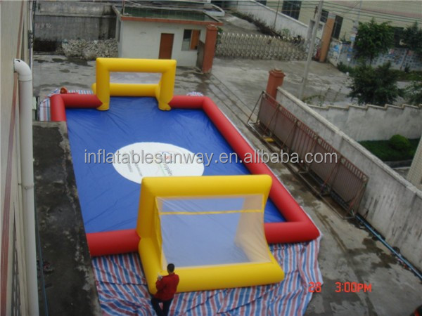 PVC Soap Inflatable Football Field Water Sport Game / Inflatable Soccer Pitch With Bottom