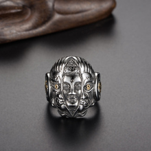 Punk Style Thailand Buddha Devil Skull 316L Stainless Steel Men Biker Ring