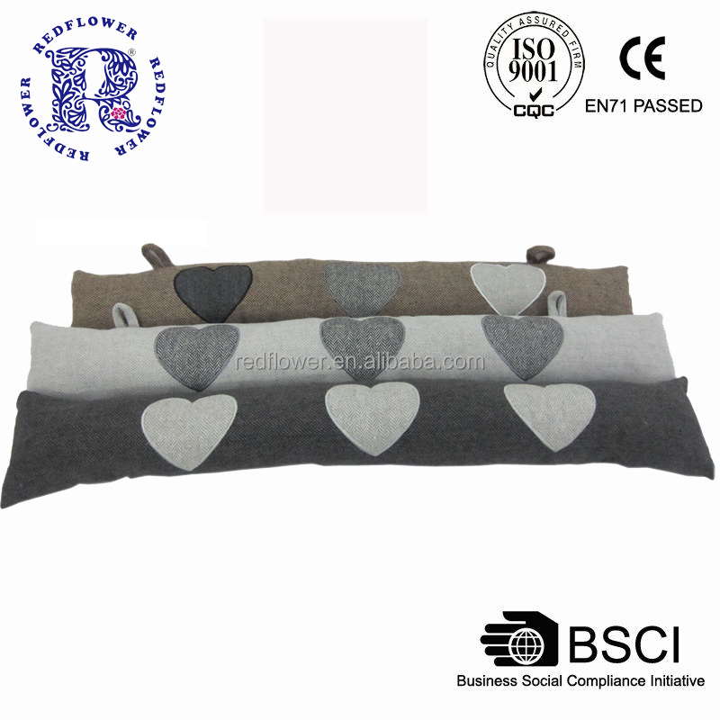Draught Excluder Long Door Stopper Heart Embroider Herringbone Fabric Best Sell