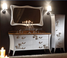 China Largest 22inch double sink italian Style white with gold Bathroom Vanities Manufacturer
