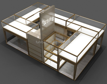 Retail Store Jewelry Display Counter Configuration with Tempered Glass Shelves