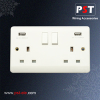 USB Power Socket 13A 1 Gang Switched Socket