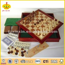 wooden 7 in 1 combined game box chess checker backgammon 3039