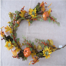 5' Artificial red maple vine Fall garland with Pumpkin