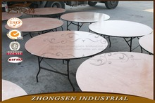 wooden banquet table with metal folding legs