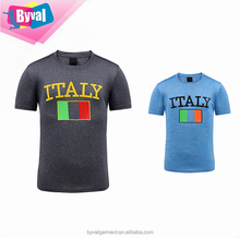 Italy Flag Printed T Shirt Men's O Neck Tee 100% Polyester Dry Fit Tee Shirts Made In China