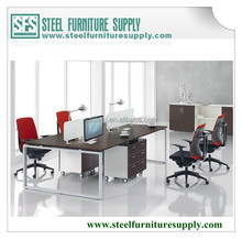four people office workstation, commercial furniture computer desk for four person