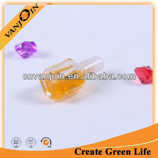 10ml Hexagon Glass Nail Polish Plastic Bottle With Brush Cap