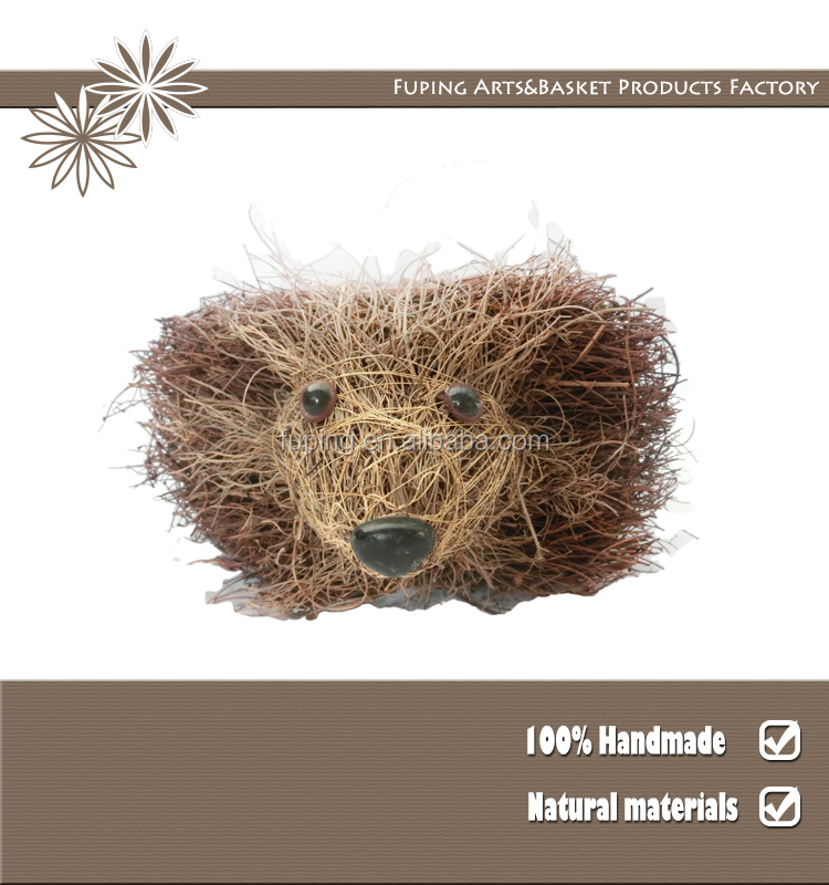 Wholesale Home & Garden Animal Rattan basket Hedgehog shaped flower pot for sales