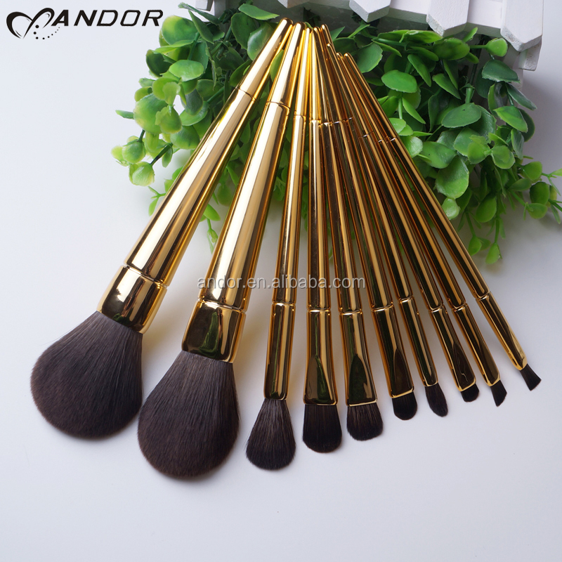 Private label goat hair 10pcs makeup brush set free sample