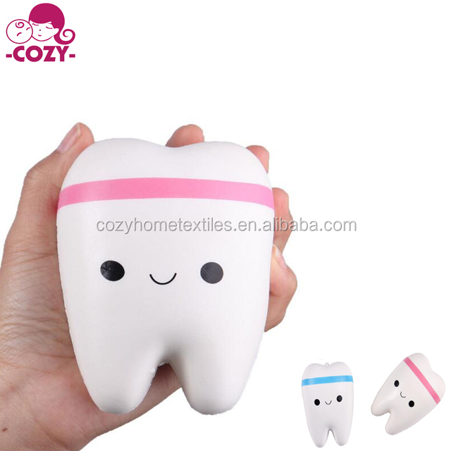 2017 New Cute Creative Anti Stress Smiley Tooth Very Soft Slow Rising Squeeze Rare Kids Toy Used For Keychain and Decoration