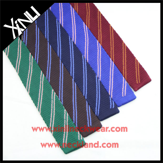 High Fashion Dry Clean Only Handmade Men's 100% Knit Neck Striped Tie Silk