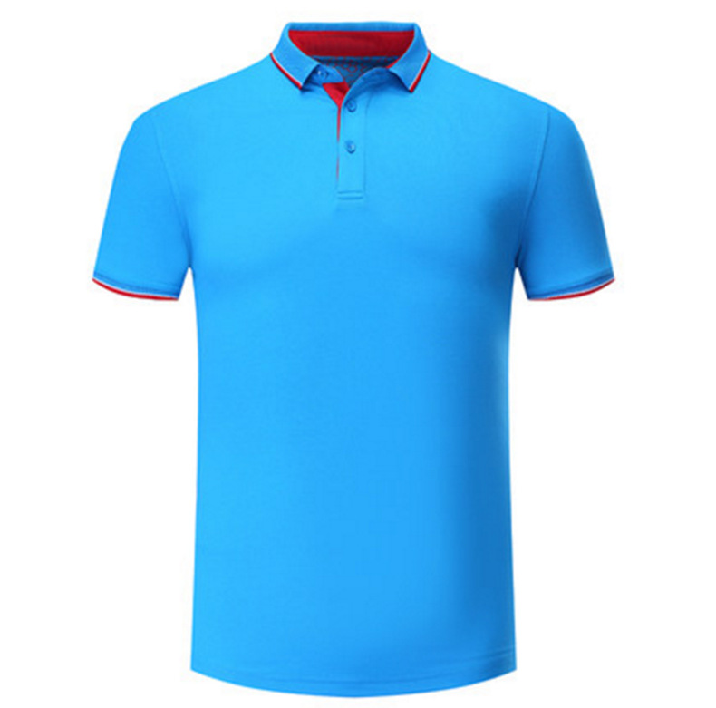 2018 new pure color short T-shirt golf wear lapel leisure logo and design custom