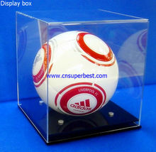Square acrylic display box with black base for football