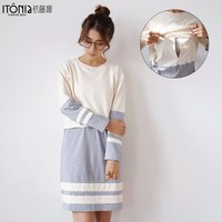 Classic long office knitting maternity clothes dress for pregnant women