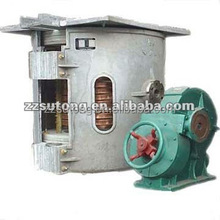 750kg intermediate Frequency aluminum ingot melting induction furnace with aluminum frame