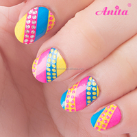 New products 2016 tiebeauty 2D rainbow color nail art sticker for girls 22 tips free sample nail art