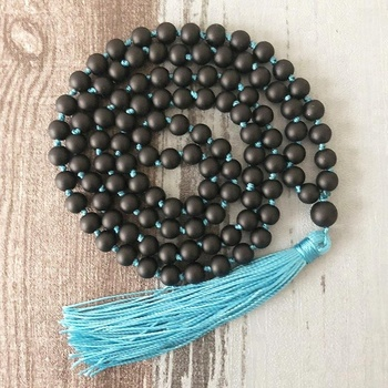 ST0446 Matte Black Onyx 108 Bead Hand Knotted Mala Necklace Long Knotted Yoga Necklaces Handmade Tassel Buddhist Mala Necklace