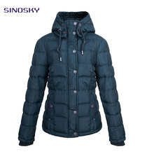 Classical thickened hooded winter women foldable down jacket in stock