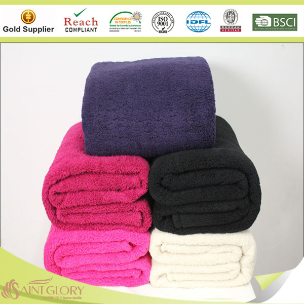 solid color 100 polyester sherpa fur blanket