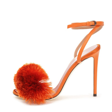 orange faux fur 4 inches beautiful high heels pumps genuine leather womens trendy heel sandal
