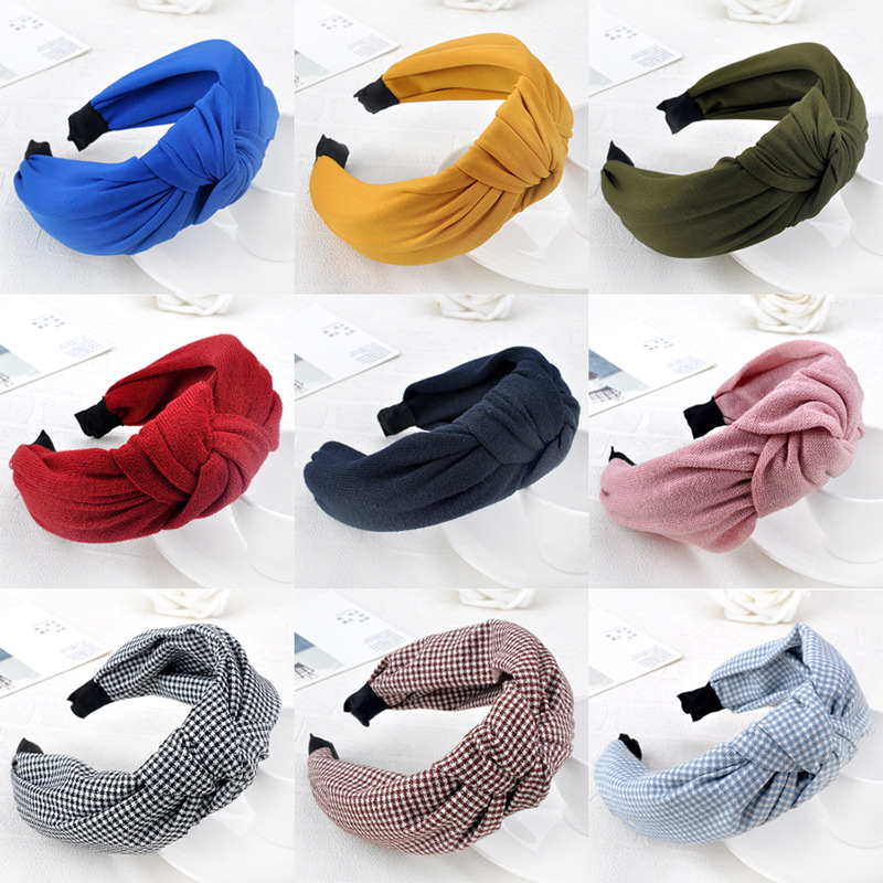 Wholesale Dotted Hairbands women grils vintage Twisted Knotted Headband Floral wide Hair Bands Headwear Accessories HB012