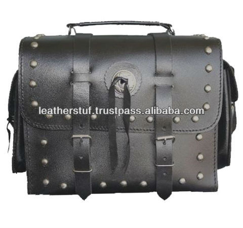 Leather Motorcycle Saddle Bag About Any Bike