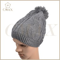 Grey acrylic jacquard classic men fashion winter knitted hat with fuzz ball