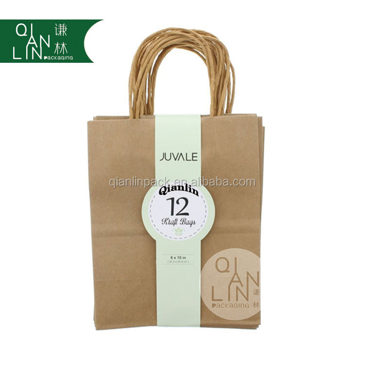 Hot Sale Brown Kraft Paper Gift Bags With Twisted Handle Buy Cheap