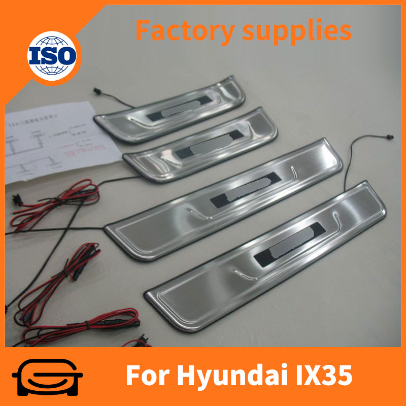 Auto tuning parts stainless steel led door sill plate for hyundai ix35 2010-