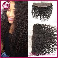 Best selling virgin cambodian deep wave curly black human hair lace frontal closure with baby hair for sale