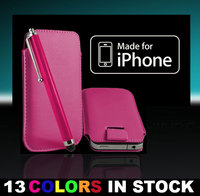 New Best Quality Leather Case Cover Pouch Sleeve for iPhone 4 4G 4S 3G 3GS Color Pink