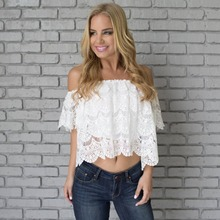 Scallops Floral Lace Pattern Off Shoulder Crochet Top Wholesle